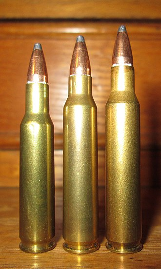.222 Remington - Size comparison between .222 (left), .223 (center) and .222 Magnum (right)