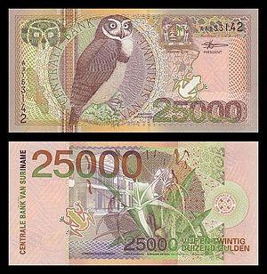 Surinamese guilder - Banknote of 25,000 guilder