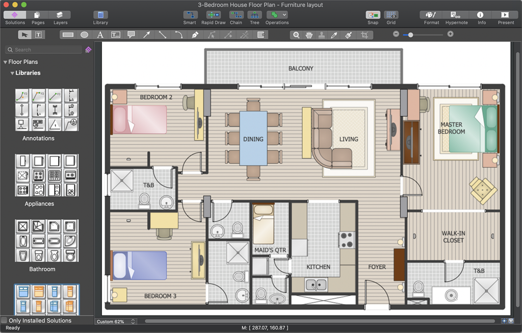 File 3 Bedrooms House Floor Plan Png Wikimedia Commons
