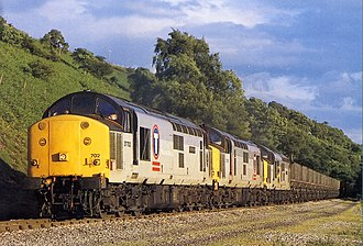 Rail freight in Great Britain - Three Class 37 locomotives hauling a coal train on the Rhymney Line in 1997.