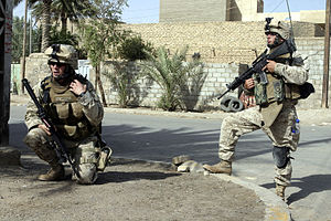 2nd Marine Division (United States) - Two Marines from the 1st Battalion, 6th Marine Regiment in Fallujah, Iraq, during July 2005