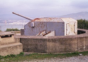 QF 5.25 inch gun - A preserved 5.25-in gun at Princess Anne's Battery, Gibraltar, the only intact battery of 5.25 inch AA guns anywhere in the world