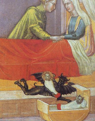 "Changeling - The devil steals a baby and leaves a changeling behind, early 15th century, detail of ""The legend of St. Stephen"" by Martino di Bartolomeo"