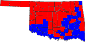 United States Senate special election in Oklahoma, 1994 - Image: 94OKSenate Special Counties