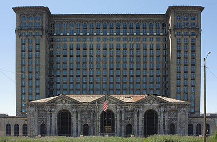 Michigan Central Station and its Amtrak connection went out of service in 1988 A445, Michigan Central Station, Detroit, Michigan, United States, 2016.jpg