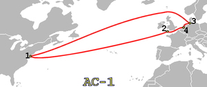 Atlantic Crossing 1 - Image: AC 1 route