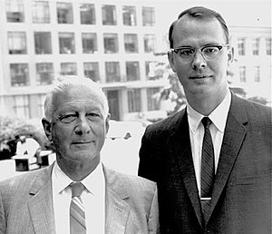 Antoine Marc Gaudin - Gaudin (left) with Professor Douglas W Fuerstenau in Berkeley in June 1965, one year before his retirement from MIT.