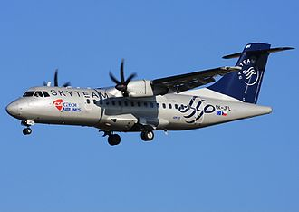 SkyTeam - Czech Airlines ATR 42-500 in SkyTeam special livery in 2009.