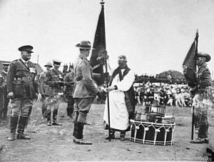 14th Brigade (Australia) - The 55th Battalion receives its Colours in a ceremony at Liverpool, New South Wales, in 1927.