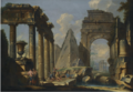 A LANDSCAPE WITH CLASSICAL RUINS AND FIGURES RESTING IN THE FOREGROUND.PNG