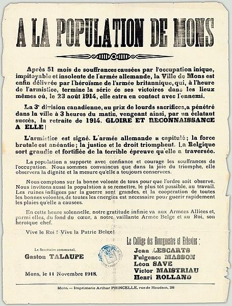 File:A La Population de Mons. Après 51 mois de souffrances causées par l'occupation inique.. (12504016483).jpg