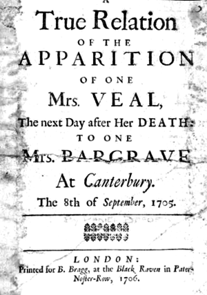 The Apparition of Mrs. Veal - Title page from the first edition of the pamphlet