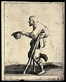 A bearded cripple walking with the aid of two crutches beggi Wellcome V0020356.jpg