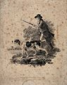 A huntsman stalking prey with his two dogs holding his rifle Wellcome V0020742.jpg