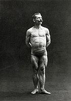 A male bodybuilder wearing bathing trunks Wellcome L0034521.jpg