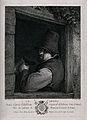 A man with tankard in hand leans by a window. Engraving by P Wellcome V0019505.jpg