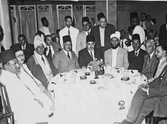 Ismail al-Azhari - Azhari (seated first from left) with notable nationalist figures from across the Arab world, including Allal al-Fassi of Morocco (first from right) and Aziz Ali al-Misri of Egypt (second from right) in Cairo, 1946