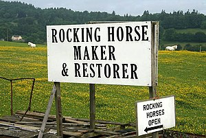 English: A rocking horse sign near Ashkirk Thi...