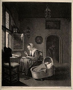 A woman sewing in a pleasant domestic interior, her baby sle Wellcome V0015073