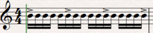Accent (music) - The arrow or wedge-shaped markings on this music notation are accents. They instruct the musician to play more forcefully or with more emphasis on these notes.
