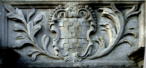 Richard Acland (1679–1729) - Arms of Richard Acland (with crescent for difference) on parapet of Queen Anne's Walk, Barnstaple, completed in 1713