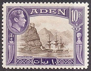 Aden Expedition - Capture of Aden on a 1939 stamp marking the centenary