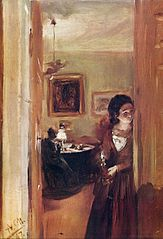 Living room with the artist's sister