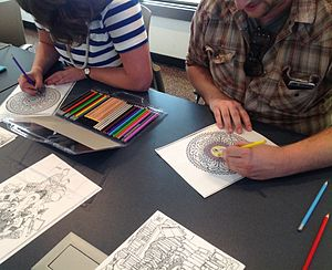 Coloring book - Adults coloring at a library program