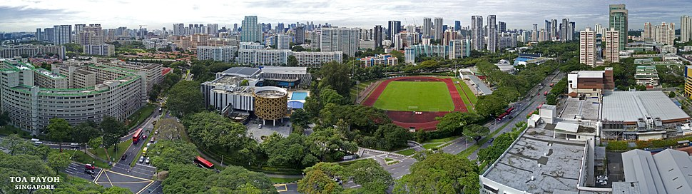 Aerial panoramic sweep of Toa Payoh Stadium and its surrounds