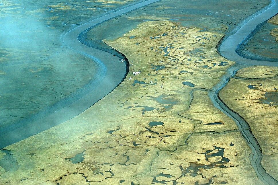 Aerial view of Tutakoke Bird Camp, Coast of the Bering Sea just south of Hooper Bay, Alaska, near Chevak, Alaska