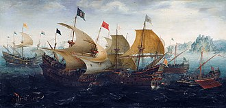 Dutch–Portuguese War - Portuguese galleon fighting Dutch and English warships