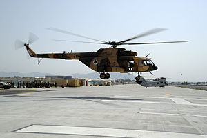Jalalabad - An Afghan Air Force Mi-17 helicopter comes in for a landing at Jalalabad Airport in October 2011.
