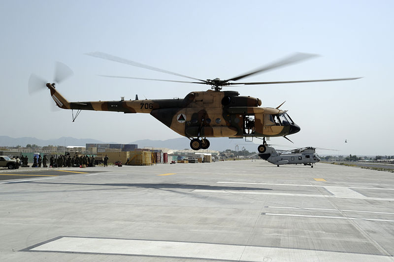 Afghan Air Force Mi-17 landing at Forward Operating Base Fenty in 2011.jpg