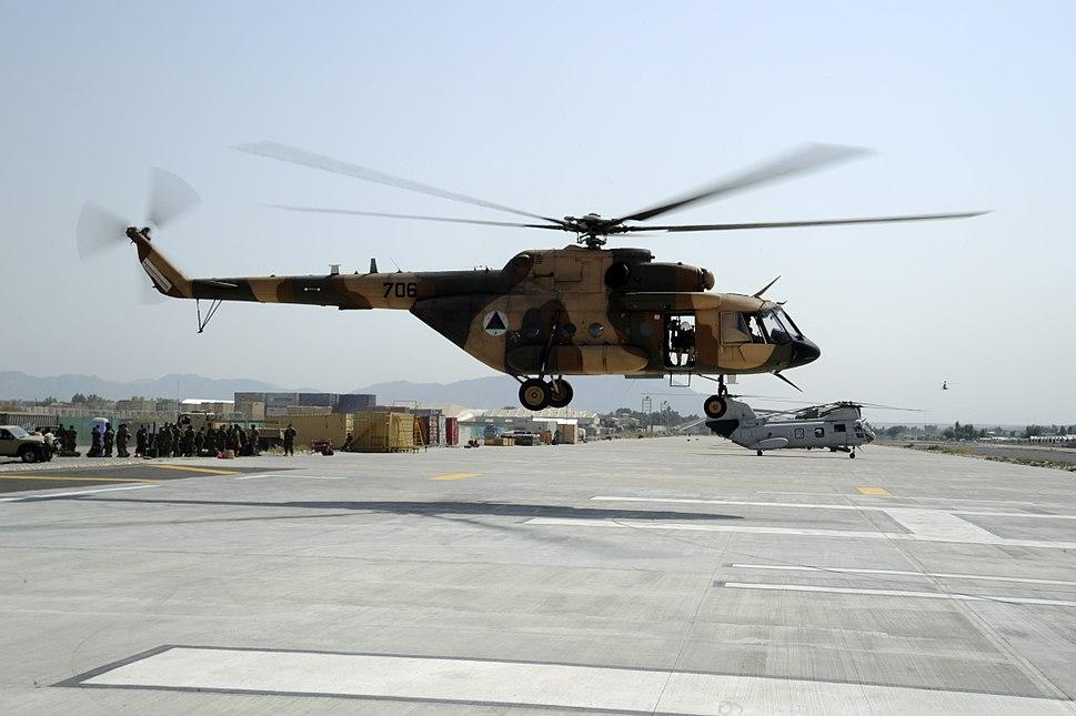 Afghan Air Force Mi-17 landing at Forward Operating Base Fenty in 2011