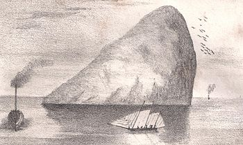 English: Ailsa Craig in the 1840s. Clyde. Scot...