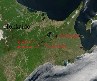 Akan Volcanic Complex - Mount Meakan, Akan-Fuji and Mount Oakan on a satellite image of Eastern Hokkaido