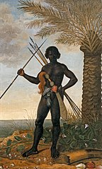 Portrait of a black man with spears and assegai