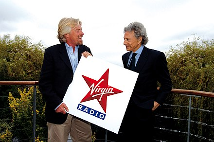 Branson with Alberto Hazan in June 2007 helping launch Virgin Radio Italia