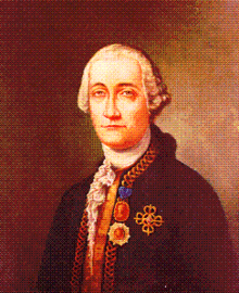 Painting of man in powdered wig with medals