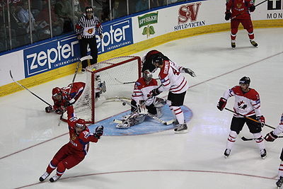 Alexander Semin scores a goal in the gold medal game between Canada and Russia at the 2008 World Championships. Alexander Semin first goal in final 2008 IIHF World Championship.JPG