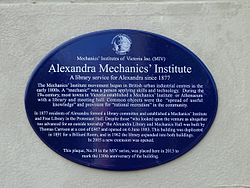 Photo of Alexandra Mechanics' Institute blue plaque