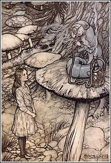 Alice alices adventures in wonderland wikipedia one of rackhams art nouveau illustrations in which alice encounters the caterpillar 1907 fandeluxe Image collections