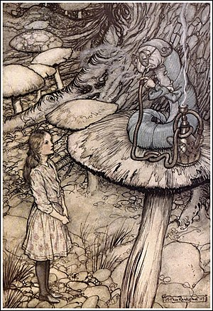 Caterpillar (Alice's Adventures in Wonderland) - Image: Alice in Wonderland by Arthur Rackham 05 Advice from a Caterpillar