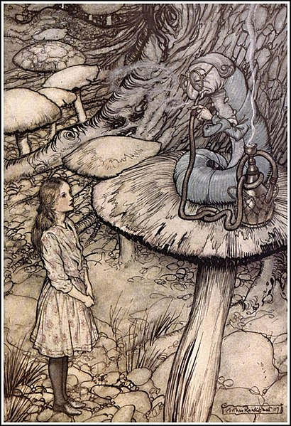 File:Alice in Wonderland by Arthur Rackham - 05 - Advice from a Caterpillar.jpg