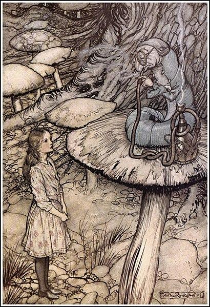 File:Alice in Wonderland by Arthur Rackham - 05 - Advice from a Caterpillar.jpg