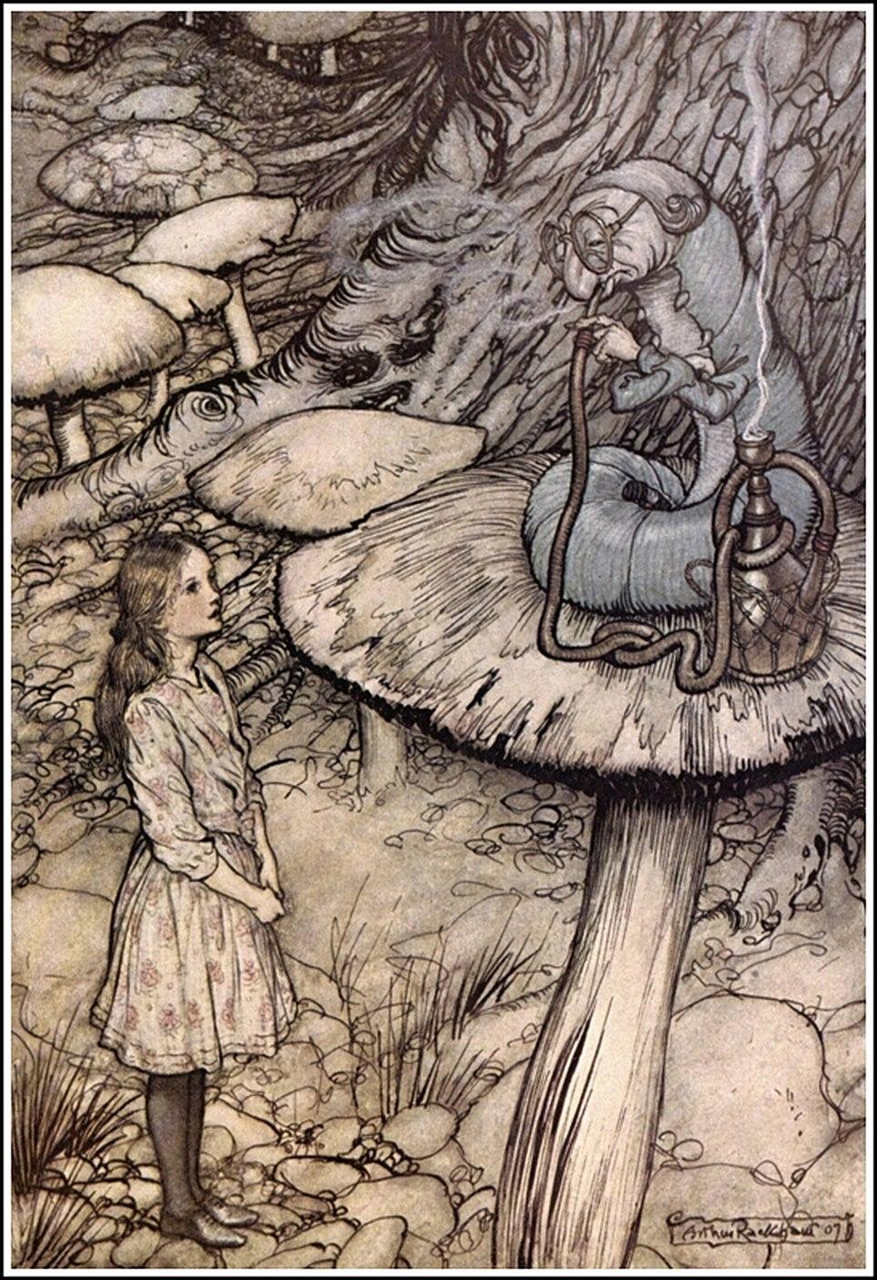 Alice in Wonderland by Arthur Rackham - 05 - Advice from a Caterpillar