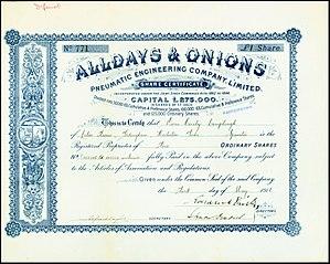 Alldays & Onions - Image: Alldays & Onions 1916