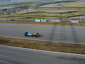 2006 FIA Formula One World Championship - Fernando Alonso driving his Renault R26 car during a testing session held in February 2006 at Circuit de Valencia.
