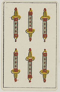 Aluette card deck - Grimaud - 1858-1890 - Six of Swords.jpg