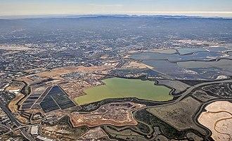 Alviso, San Jose - Aerial view showing salt ponds (and former salt ponds) in and around Alviso